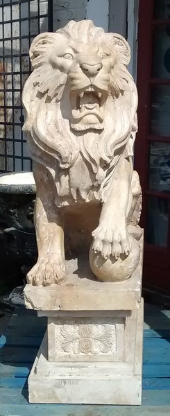 15E01100 PAIR OF LARGE CARVED TAVERTINE  LIONS (1).jpg