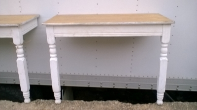 15K24813 PAIR OF PAINTED WHITE LEG OAK TOP CONSOLES (1).jpg