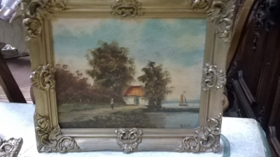 15K14002 SMALL FRAMED DUTCH OIL PAINTING.jpg