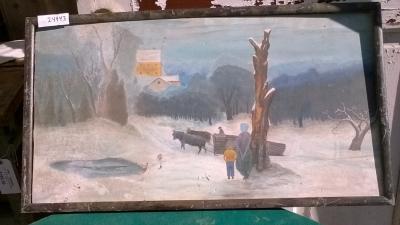 15K24943 PRINT OF OX CART IN SNOW.jpg