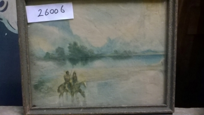 15K25006 SMALL PAINTING OF HORSE RIDERS  NEAR A LAKE.jpg