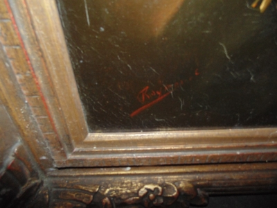 14D14200 OIL PAINTING PORTRAIT OF MAN IN HAT IN NICE FRAME