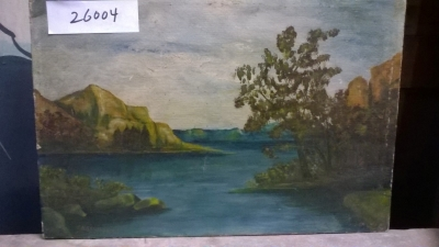 15K26004 SMALL OIL PAINTING OF RIVER TRHOUGH HILLS.jpg