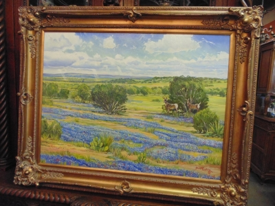 14D14250 LARGE OIL OF BLUEBONNETS BY TUCKER