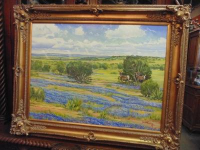 14D14250 LARGE OIL OF BLUEBONNETS BY TUCKER