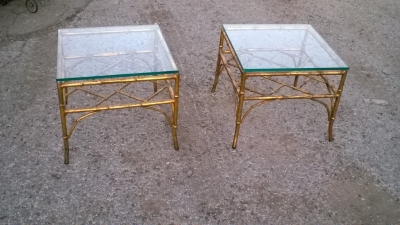 15L21009 PAIR OF GLASS TOP GILT IRON FAUX BAMBOO TABLES .jpg