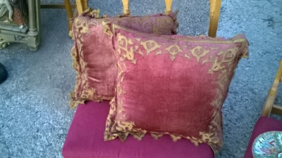 15L21024 AND 23 PAIR OF  RED PILLOWS WITH GILT TRIM (1).jpg