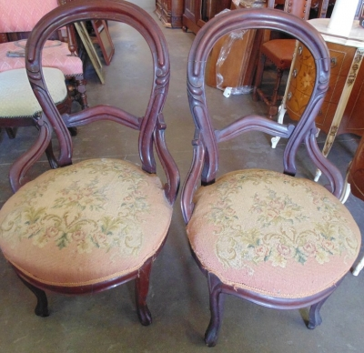 14D14103 PAIR BALLOON BACK VICTORIAN ERA CHAIRS