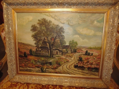 14D14450 LARGE OIL PAINTING WITH BUNGALOW AND ROAD (2).JPG
