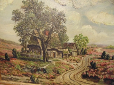 14D14450 LARGE OIL PAINTING WITH BUNGALOW AND ROAD (3).JPG