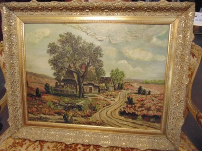 14D14450 LARGE OIL PAINTING WITH BUNGALOW AND ROAD (4).JPG