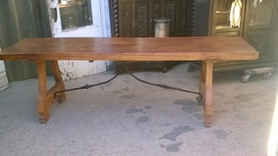 16A10006 SINGLE BOARD TOP SPANISH TRESTLE TABLE (1).jpg