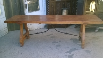 16A10006 SINGLE BOARD TOP SPANISH TRESTLE TABLE (2).jpg