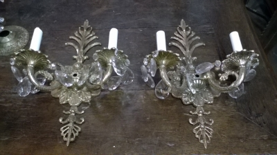 16A PAIR OF DOUBLE ARM BRASS SCONCES.jpg