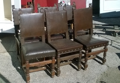 16B02003 SET OF 6 STURDY SQUARE BACK BROWN LEATHER CHAIRS (1).jpg