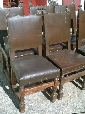 16B02003 SET OF 6 STURDY SQUARE BACK BROWN LEATHER CHAIRS (2).jpg