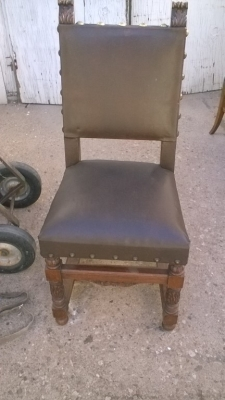 16B02003 SET OF 6 STURDY SQUARE BACK BROWN LEATHER CHAIRS (3).jpg