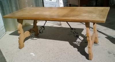 16B02015 OAK TRESTLE TABLE WITH IRON STRETCHER (1).jpg