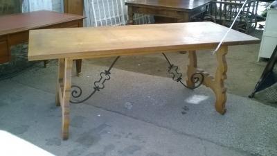 16B02015 OAK TRESTLE TABLE WITH IRON STRETCHER (3).jpg
