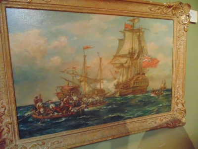 13K11113 GRIBBLE OIL OF PIRATES AND SHIP (2).JPG