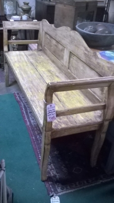 36-87229 SHABBY CHIC YELLOW PAINTED WOODEN BENCH (1).jpg