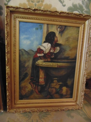 13K18101 SMALL BEAUTIFUL OIL OF LADY AT WELL.JPG