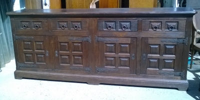 16C04006 LARGE DARK OAK SPANISH PANELED SIDEBOARD  (1).jpg