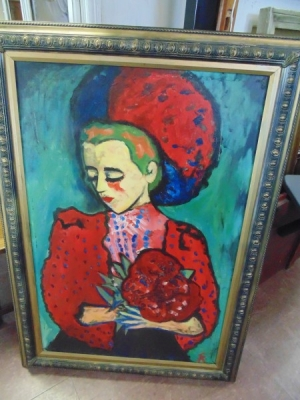 13K18318 LARGE MODERN OIL OF LADY AND FLOWERS.JPG