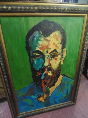 13K18319  OIL PAINTING OF MAN WITH PIPE MODERN.JPG