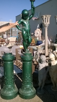16C03016 GREEN CAST IRON FIGURAL POLE LAMP (3).jpg