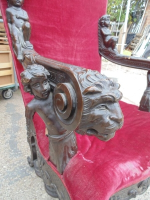 13K18370 CARVED CHAIR WITH LIONS AND CHERUBS (3).JPG