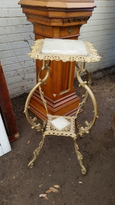 16C13005 FRNCH PLANT STAND WITH MARBLE INSETS.jpg