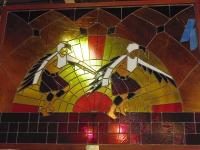 13k25103 Large Indian Stained Glass needs some restoration.JPG