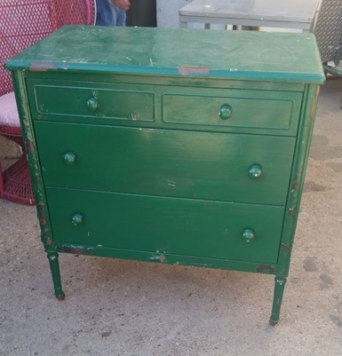 16C13042 GREEN PAINTED METAL CHEST OF DRAWERS (1).jpg