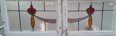 16C19199A PAIR OF LARGE SWAG SWAG STAINED GLASS WINDOWS (2).jpg