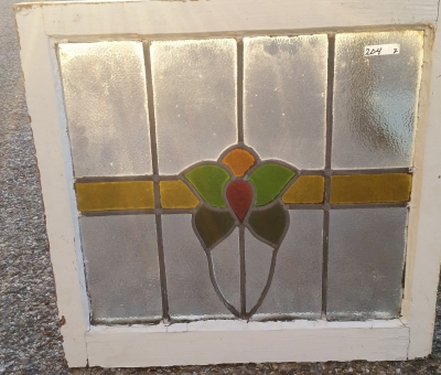 16C19204A RED, GREEN, GOLD FLOWER STAINED GLASS WINDOW (1).jpg