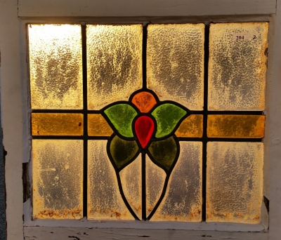 16C19204B RED, GREEN, GOLD FLOWER STAINED GLASS WINDOW (2).jpg