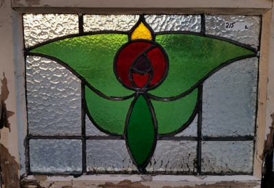 16C19212B ROSE WITH GREEN LEAVES STIANED GLASS WINDOW.jpg