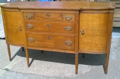 16C23900 AMERICAN OAK SIDEBOARD BUFFET WITH CURVED GLASS CABINETS (2).jpg