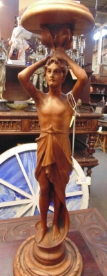 13L17041 CARVED WALNUT STATUE OR PLANT STAND (2).JPG
