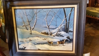16D01 DEER BY THE STREAM IN WINTER OIL PAINTING.jpg