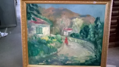 16D01 FRAMED FIGURE ON A ROAD OIL PAINTING.jpg