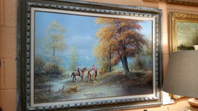 16D01 HORSES IN THE RIVER OIL PAINTING.jpg