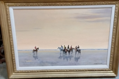16D01 HORSES ON THE BEACH OIL PAINTING.jpg