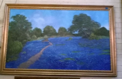 16D01 LARGE FRAMED BLUE BONNET OIL PAINTING.jpg