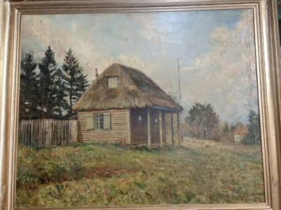 16D01 LARGE SIGNED HUT OIL PAINTING.jpg