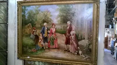 16D03 FRAMED OIL PAINTING OF LADIES AND GENTLEMEN.jpg