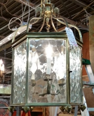 36-87310 ANTIQUE GLASS AND BRASS LANTERN.jpg