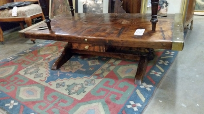 36-87430 SHIPS WOOD AND BRASS COFFEE TABLE (2).jpg