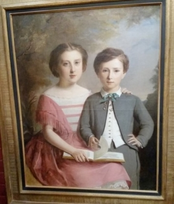 36-EARLY MOTHER AND SON OIL PAINTING.jpg